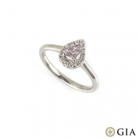 18k White Gold Fancy Pink Purple Pear Cut Diamond Ring 0.35ct